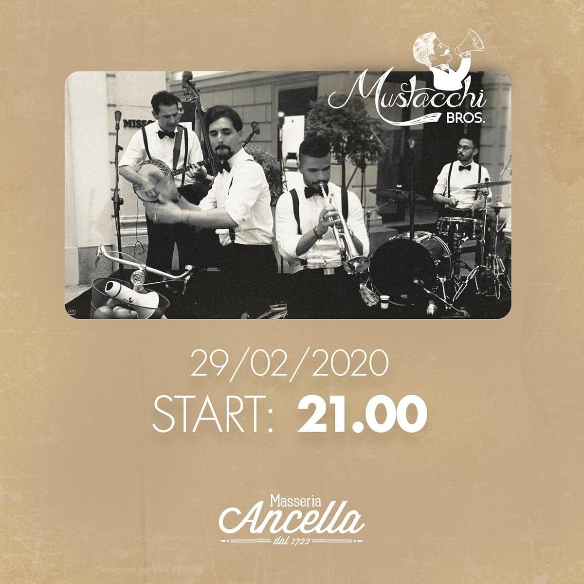 """Cena e musica live con i """"Mustacchi Bros"""""""